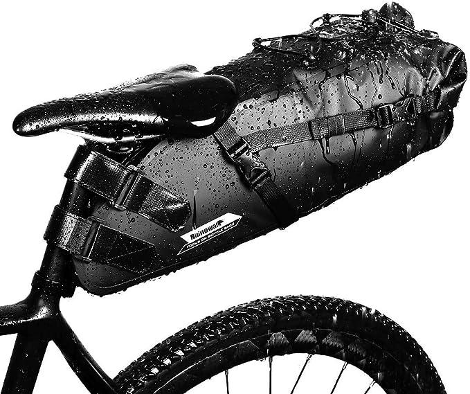 Gwxevce Bicicletta Borsa da Sella Impermeabile Posteriore Posteriore Portabici Borsa Portaoggetti Nero Esterno