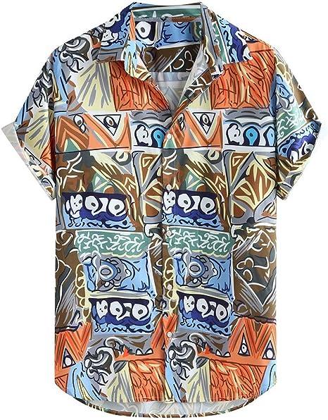 Lomsarsh Camisa de Hombre, Camisa Holgada de Manga Corta Estampada con Estampado étnico Abstracto para Hombres Camisas Ligeras Informales de Verano, Tops para la Vida Diaria para Hombres Monos: Amazon.es: Deportes y