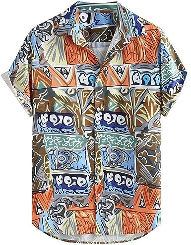 Yivise Camiseta de Manga Corta con Estampado étnico Vintage para ...