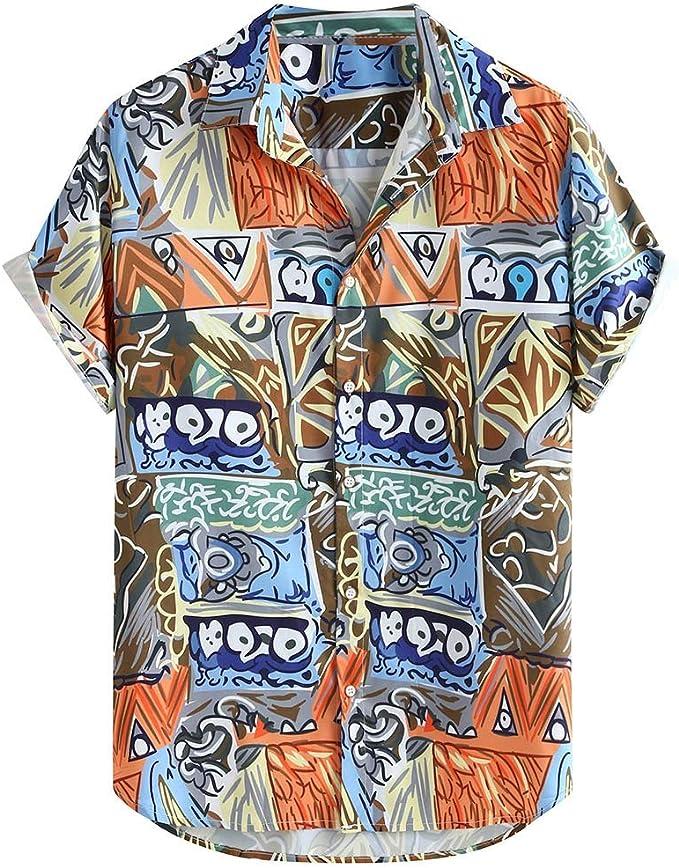 Rrive Men Summer Slim Short Sleeve 3D Graphic Fashion Tie-Dyed Button Down Shirt