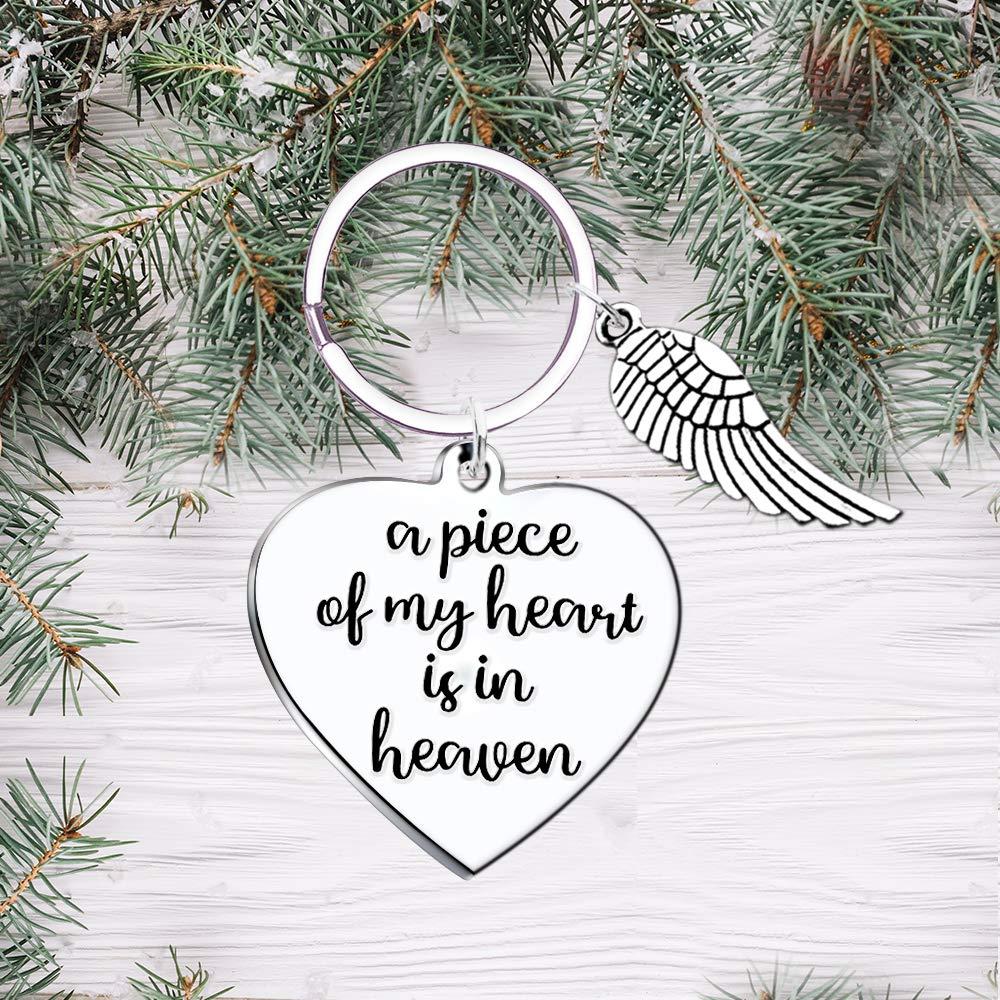 Memorial Keychain Sympathy Gift A Piece of my Heart is in Heaven Angel Wings