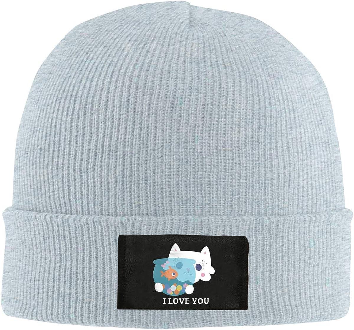 I Love You Cat Kiss Fish Winter Beanie Hat Knit Skull Cap for Men /& Women