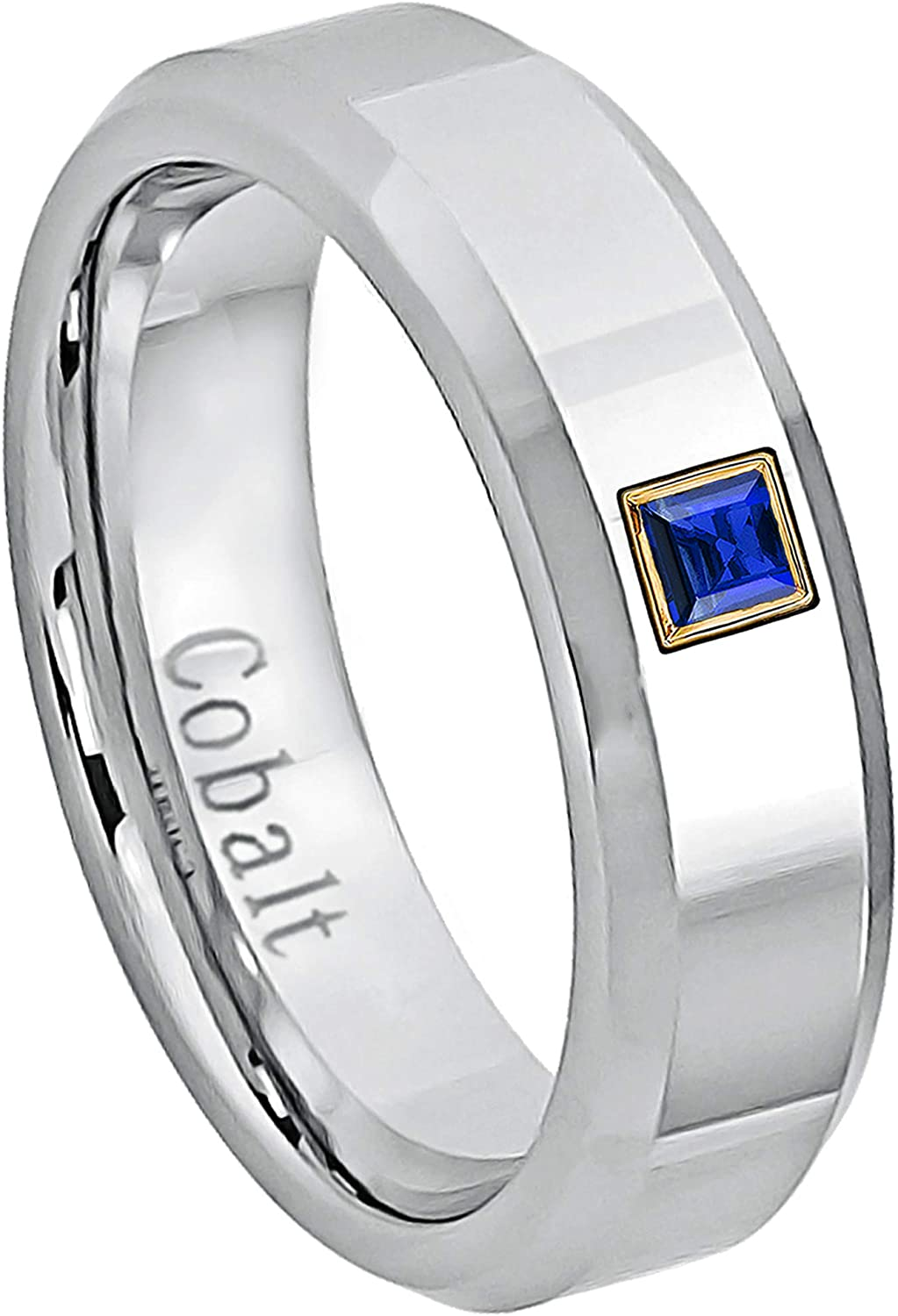September Birthstone Ring 6MM Polished Finish Beveled Edge Cobalt Chrome Wedding Band 0.05ctw Solitaire Princess Cut Blue Sapphire Cobalt Ring