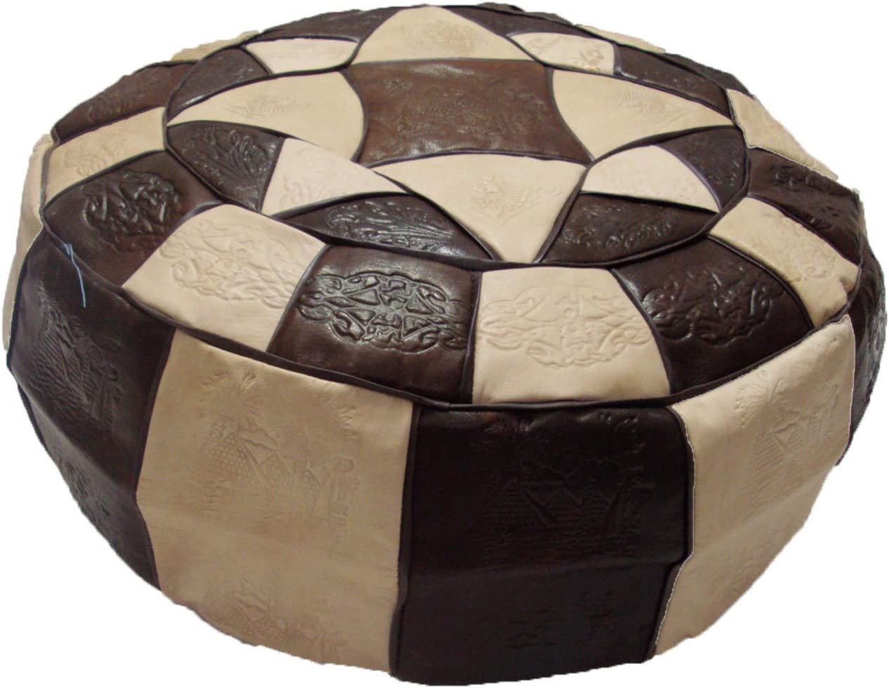 Authentic Egyptian Morocan Handmade Genuine Leather Ottoman Pouf Footstool Unstuffed Large Diameter 19 Height 7.5