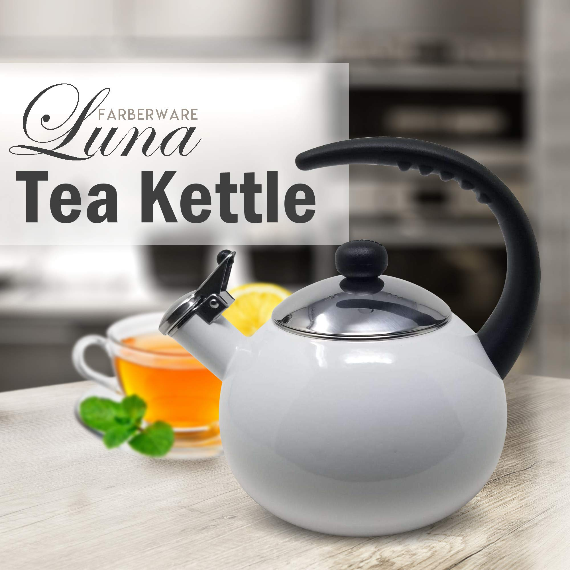 Farberware Luna White Porcelain Enameled Food Grade 18/8 Stainless Steel Soft Whistle Anti- Hot and Anti-Rust TEA KETTLE with Soft Grip Handle Flip Up Spout Heavy Gauge STOVETOP POT 2 QT. by Alfay (Image #2)