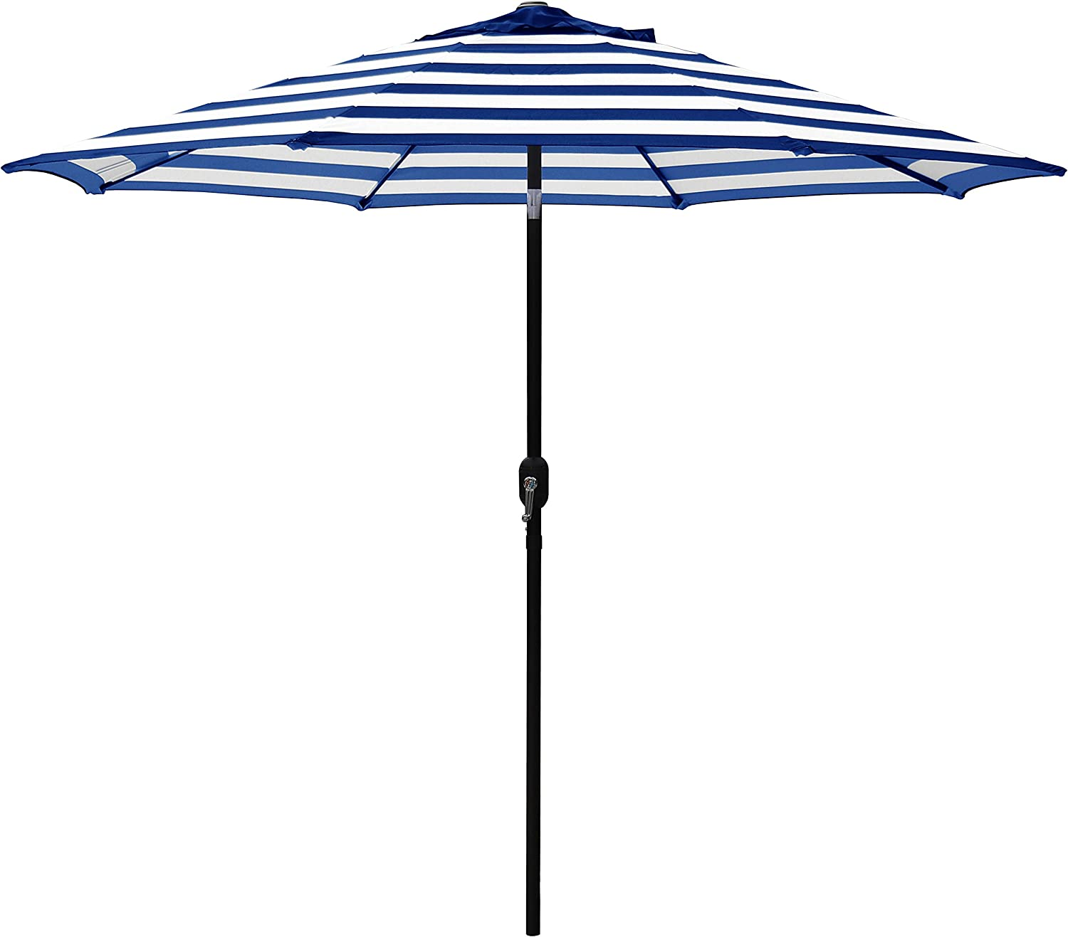 ABBLE Outdoor Patio Umbrella 9 Ft Stripe with Crank and Tilt, Weather Resistant, UV Protective Umbrella, Durable, 8 Sturdy Steel Ribs, Market Outdoor Table Umbrella – Blue and White