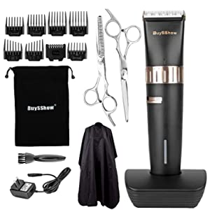 BuySShow Quiet Professional Hair Clippers Set Cordless Rechargeable Hair clippers for Men and Babies with Charging Dock,8 Comb Guides,2 Scissors, Hairdressing Cape
