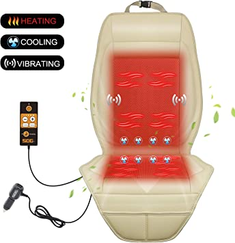 SEG Direct 3-in-1 Car Smart Seat Cushion Cooling for Summer Heating for Winter Universal 12V Output Voltage Adapter with 5 Adjustable Levels of Cooling and Heating Vibrating Massage for Driving