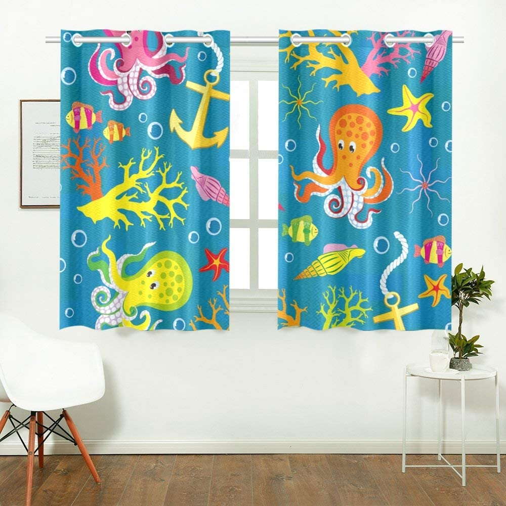 Reopx Texture On Marine Theme Kitchen Curtains Window Curtain Tiers For Café Bath Laundry Living Room Bedroom 26 X 39 Inch 2 Pieces Amazon Co Uk Kitchen Home