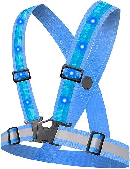 Heawaa Led Reflektorweste Mit 12 Led Lichter Running Warnweste Mit 360 High Reflector Sicherheitsweste Einstellbare Elastische Reflektierende Weste Für Laufen Outdoor Sports Sport Freizeit