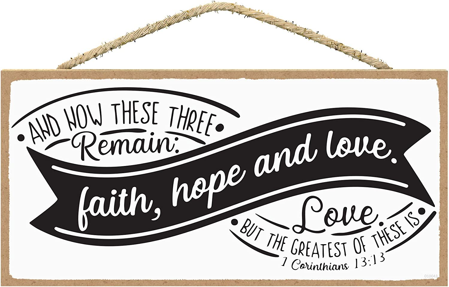 SARAH JOY'S Christian Decor - Religious Wall Decor - Bible Verses Wall Art - Christian Home Decor - Faith Wall Decor Sign 5 x 10 inches (Greatest of These)