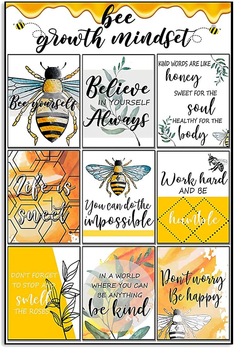 AMD PRINT Teacher Poster Hive Bee Growth Mindset Bê Yourself Believe in Yourself Always Don't Worry Be Happy Abstract Wall Art for Living Room Home Decor Painting Vintage Motivational Poster No Frame
