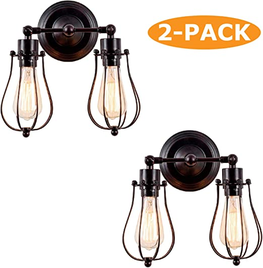 2 Lights Oil Rubbed Bronze Vintage Wall Light Tube Bulbs Industrial Style Lighting Adjustable Socket Rustic Wire Metal Cage Sconces Wall Lamp Indoor Home Retro Lights Fixture