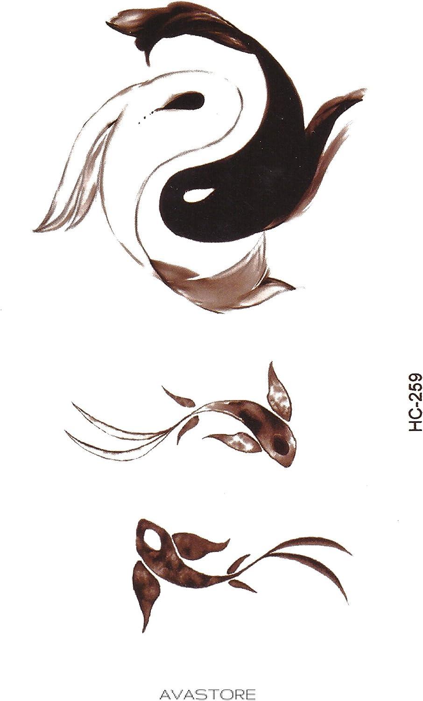 Tatuaje Temporal Ying Yang peces – Tatuaje efímero Ying Yang ...