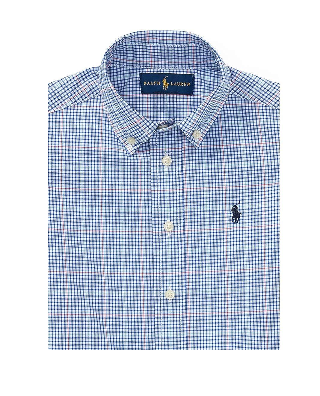 RALPH LAUREN Boy Plaid Cotton Long Sleeve POPLIN Button Down Shirt Size 7 Blue Multi