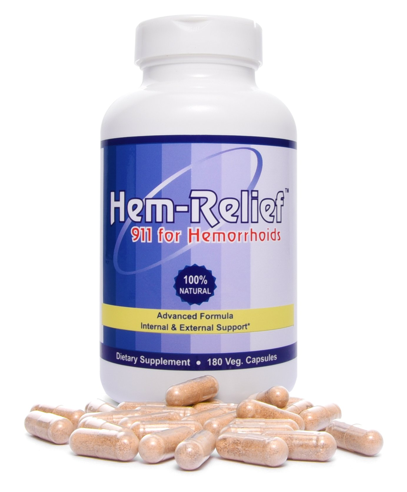 Western Herbal and Nutrition | Hem-Relief 911 for Hemorrhoids | 100% Natural Formula | Alleviate Pain, Itching, Burning | Fast Acting Supplement | Internal & External Treatment | 180 Vegetarian Caps by Hem Relief