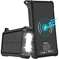 Solar Charger, 24000mAh Solar Power Bank, Portable Wireless Charger with 4 Outputs/Inputs, USB, Type C, QC3.0, LED…