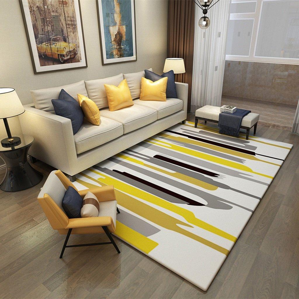 AILI Stilvolle Hause Teppich Wohnzimmer Sofa Boden warme rechteckige gelbe aquarell mat 120  160 cm (Größe   140  200cm-b)