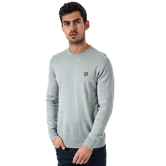 0092d86a5be Mens Lyle and Scott Crew Neck Cotton Merino Jumper in Green Stone Marl  Lyle  And Scott  Amazon.co.uk  Clothing