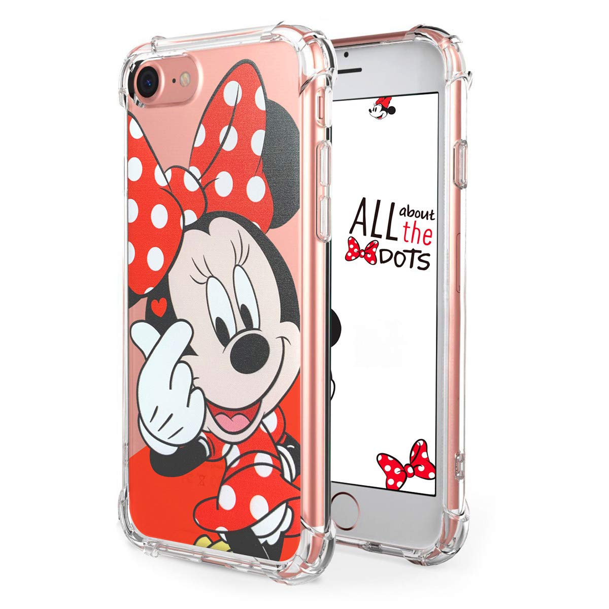 "Logee TPU Minnie Mouse Cute Cartoon Clear Case for iPhone 8/iPhone 7 4.7"",Fun Kawaii Animal Soft Protective Cover,Ultra-Thin Shockproof Funny Creative ..."