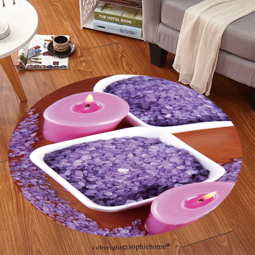 Sophiehome Soft Carpet 76530559 Lavender spa salt and lavender candles on a wooden background Anti-skid Carpet Round 34 inches