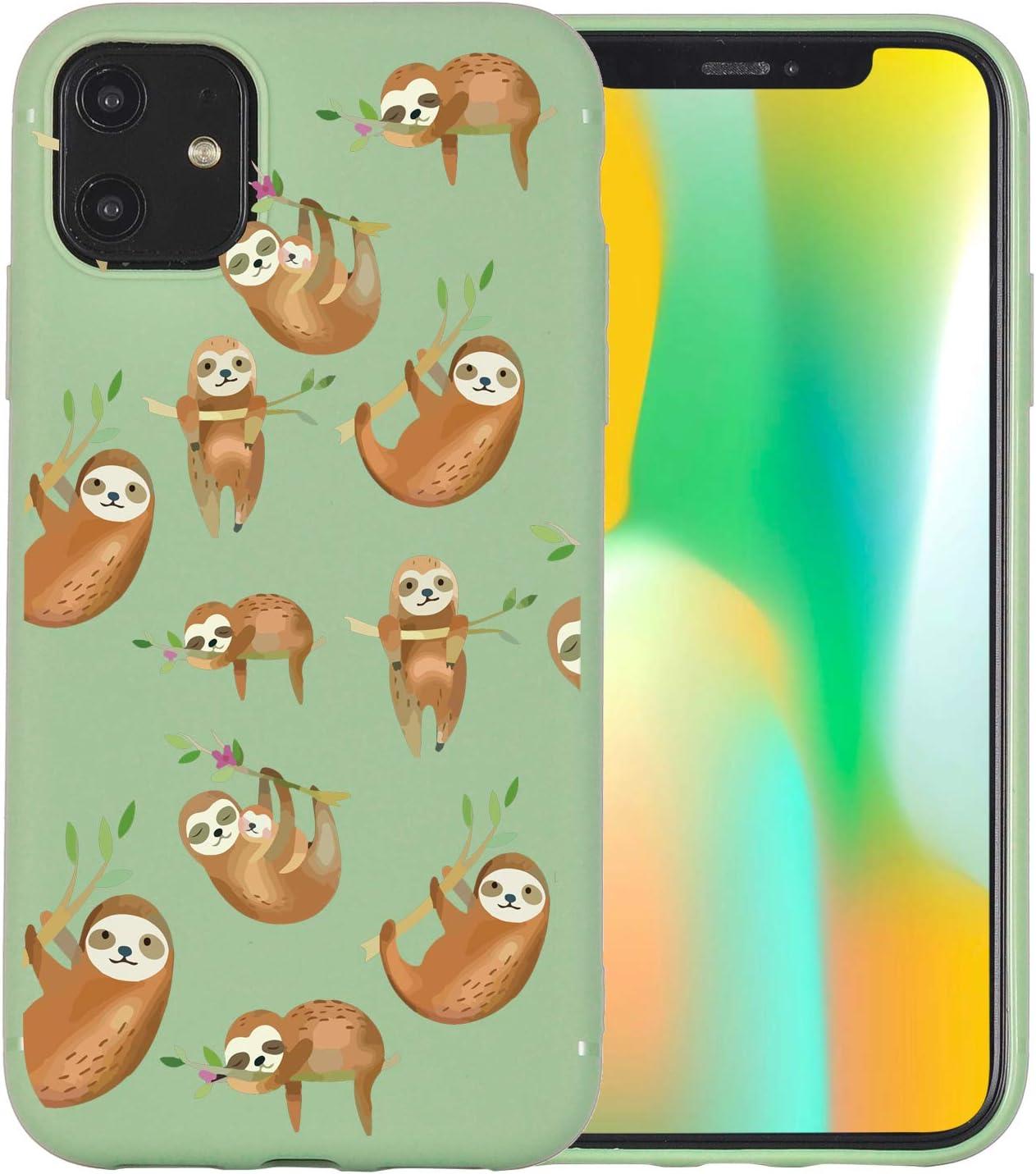 JOYLAND Avocado Green Case for iPhone 7 Plus/8 Plus Case Funny Sloth Tree Phone Cover Flexible Soft TPU Bumper Cute Case for iPhone 7 Plus/8 Plus