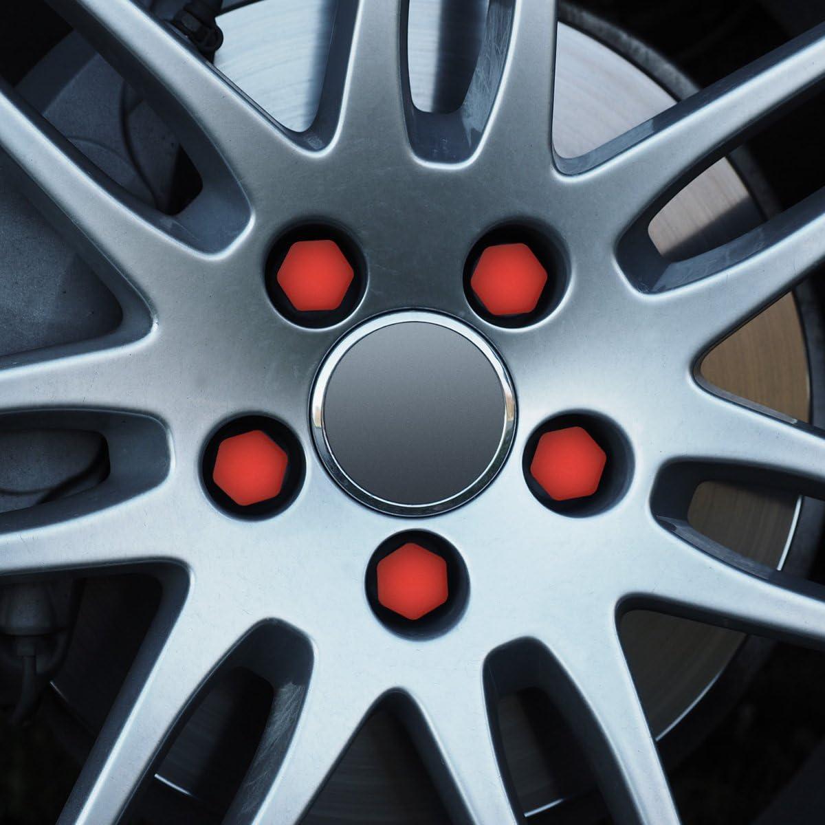 kwmobile 20x Abdeckung f/ür 17 Reifen Auto Rad Schraube Mutter Kappen in Rot Radschrauben Cover