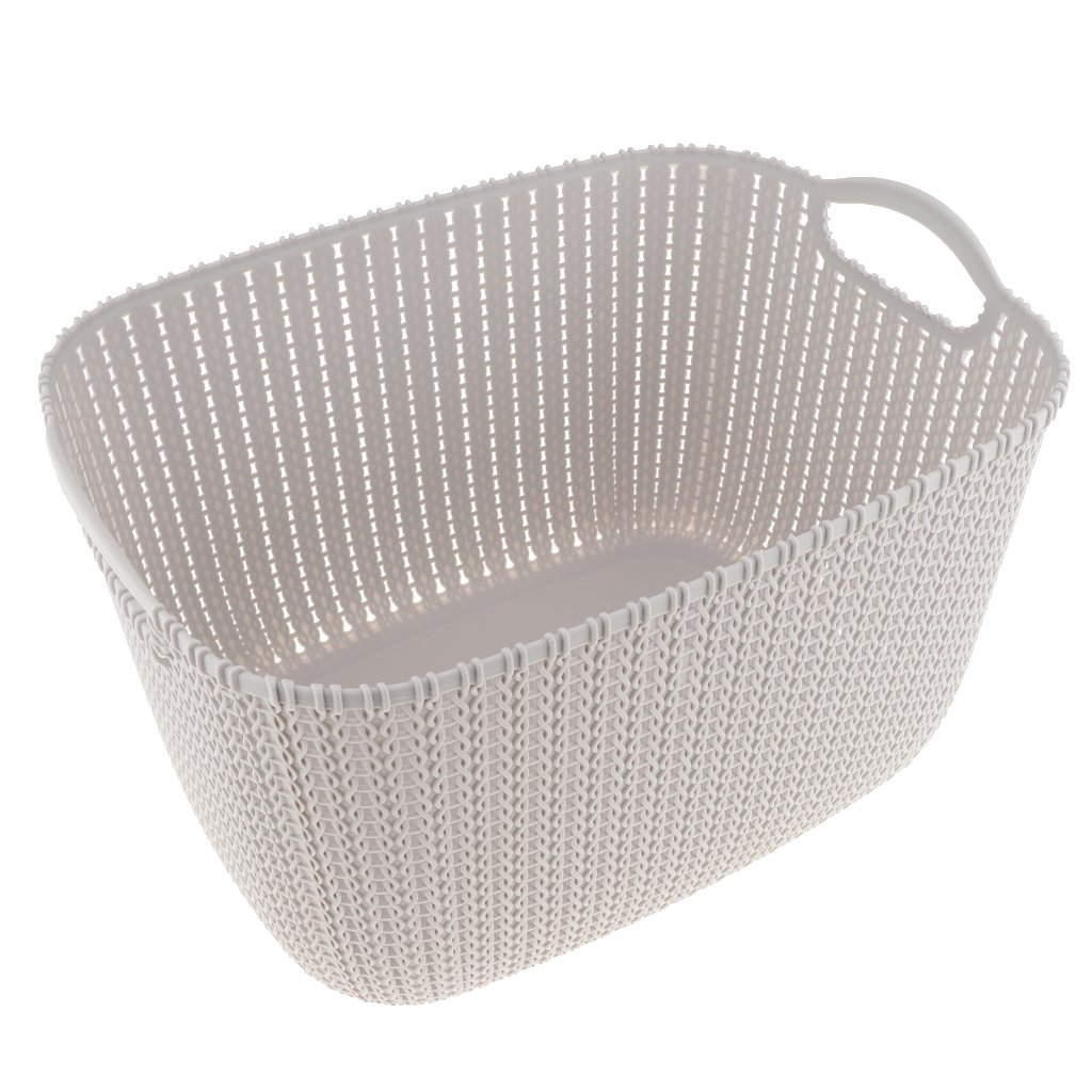 B Blesiya Woven Rattan Style Plastic Storage Bin Basket for Organizing Your Home, Office, or Closets (Gray, Beige, Brown, Pink, Purple to Choose) - Gray L