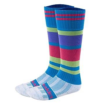 Freakies - Calcetines Multi rayas dos rodilla calcetines, hombre, Multi Stripe Dos, Cyan/Purple/Pink/Lime: Amazon.es: Deportes y aire libre
