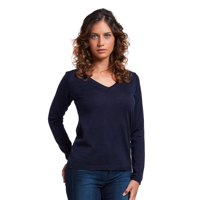 Brunella Gori Pullover Maglione Maglia Scollo a V Donna in 100/% Extrafine Merino 100/% Extrafine Merino Color Navy