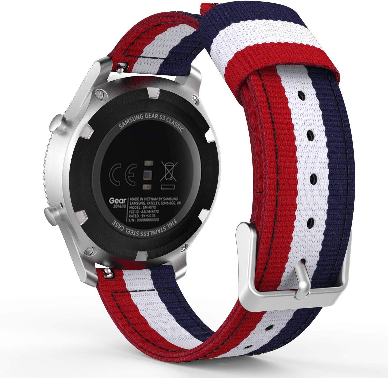 YPSNH Compatible para Correa Samsung Gear S3 22mm Correa de Reloj de Repuesto de Nylon con Samsung Gear S3 Frontier / S3 Classic/Galaxy Watch 46mm / Huawei Watch GT 46mm / Ticwatch Pro