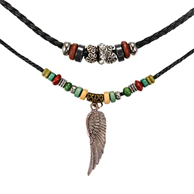 styles de mode 100% authentifié nouvelle saison JewelryWe Bijoux Collier Cuir Rétro Bois Perle Aile d'Ange ...