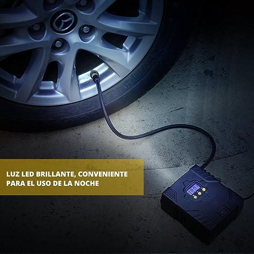 OMORC Mini Compresor de Aire portátil, Automático Bomba Inflador Digital con LED para Noche Compatibilidad con Coche, Bici, Motocicletas, para hinchar ...