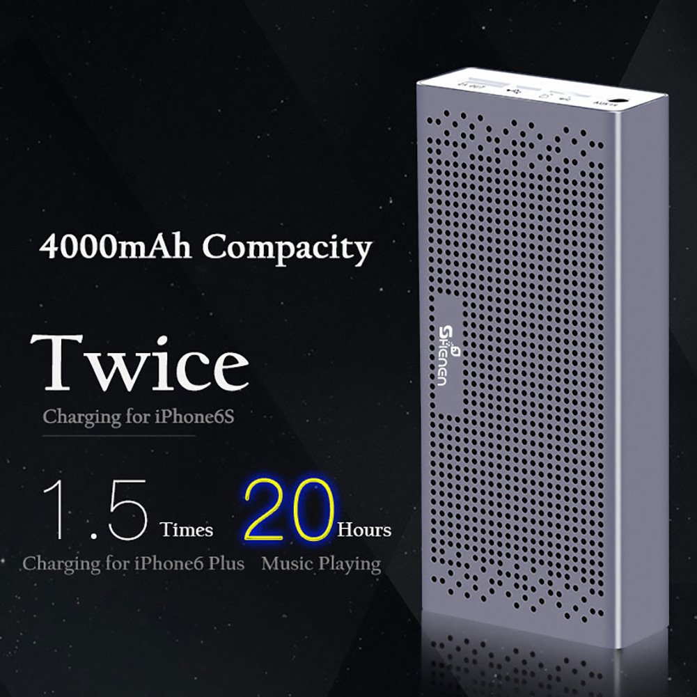Bluetooth Speakers,SHENEN Portable Wireless Bluetooth Speaker with Built-in 4000mAh Power Bank and Enhanced Bass,20Hrs Battery Life,V4.2 with Microphone for All Bluetooth Devices (Luxury gold) by SHENEN (Image #4)