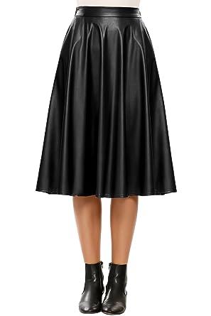 3a5e9879906 Soteer Femme Jupe Evasée Longue Simili Cuir Plissée Taille Haute A-Ligne  Vintage