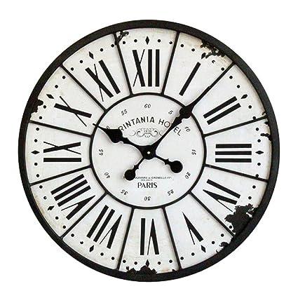 SXXDERTY Gran Reloj de Pared Industrial Wind Retro Hacer Old Iron Circular Reloj de Pared Mute