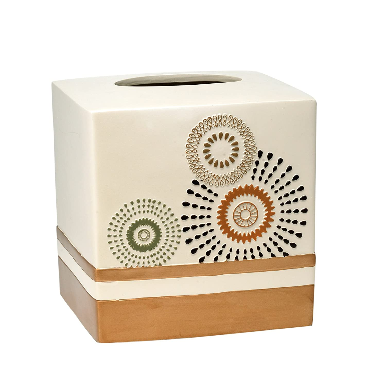 """Popular Home The Suzanni Collection Tissue Box, 8 by 8 by 8"""", Gold"""