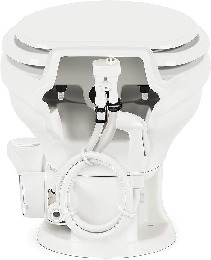 Dometic Low Prof ReVolution 321 White Elongated Deep Ceramic Foot Flush Toilet