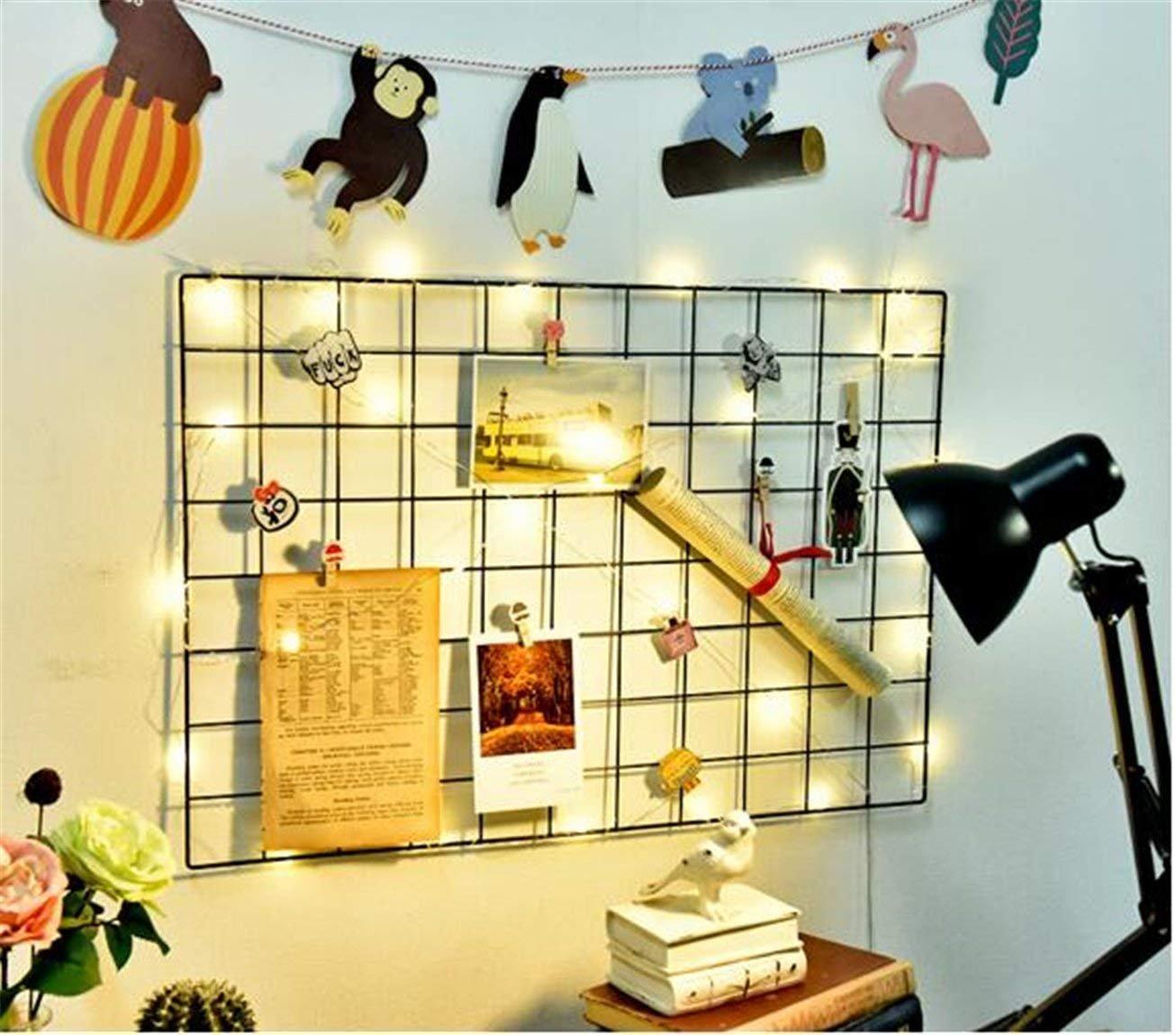 WJSX DIY Hierro cuadr/ícula Panel Foto Pared multifunci/ón Metal Mesh Pared decoraci/ón//Colgando Foto Pared//Pantalla artey Organizador 65X45CM, Negro