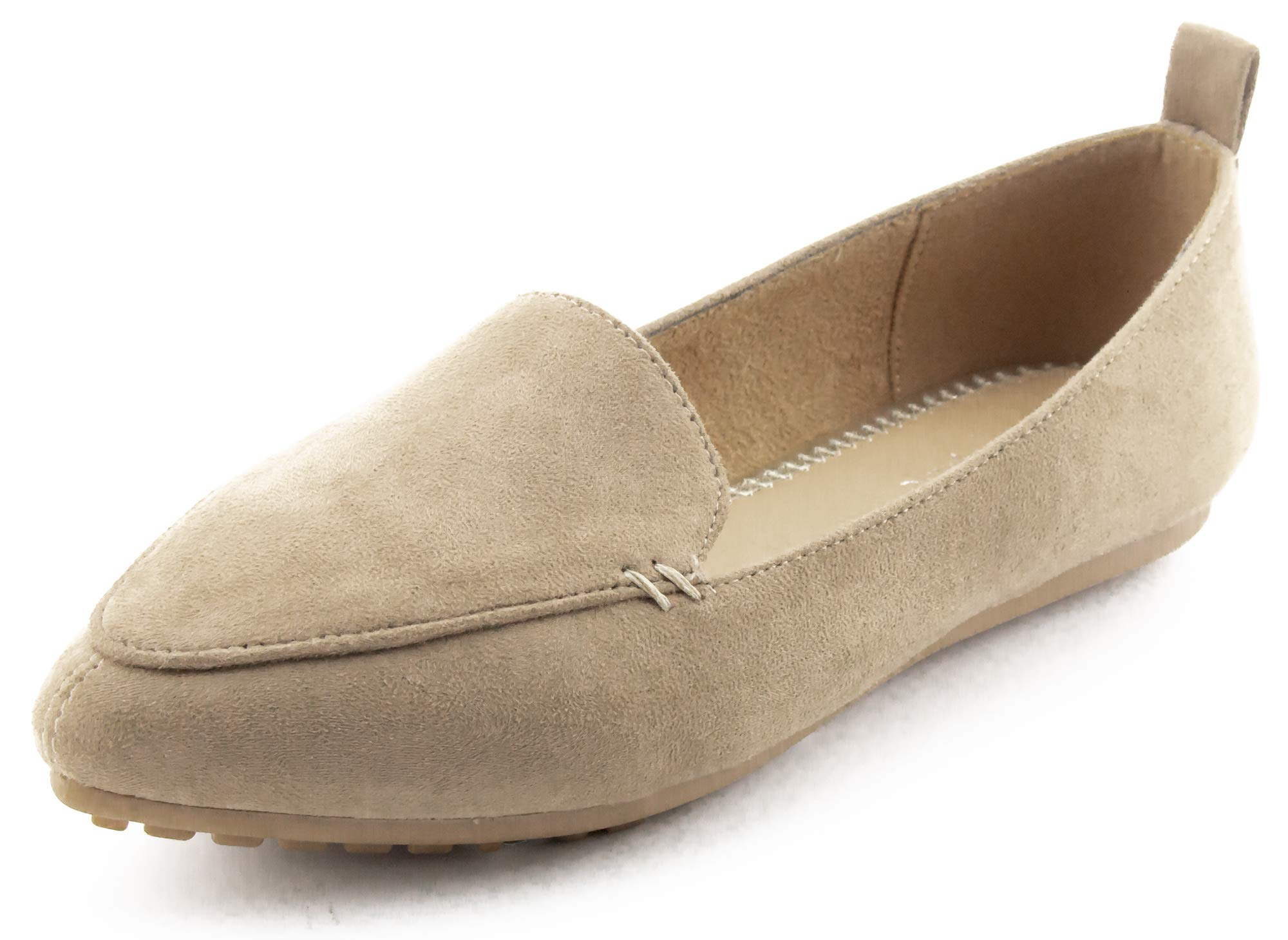 7e9f71c8239 CALICO KIKI Pointed Toe Flats Loafer - Comfort Slip on Faux Suede – Casual  Dress Flat Cushioned Padded (8.5 US TAUP SU)