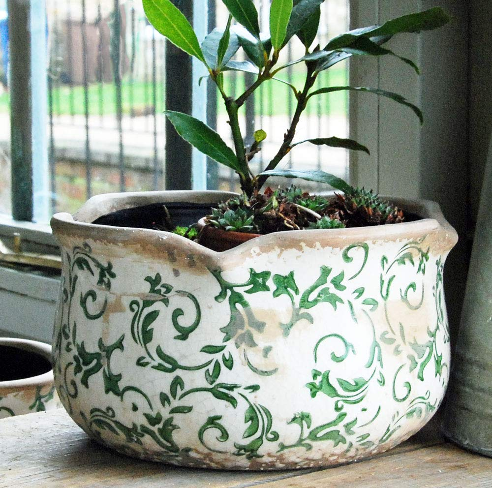 Verde Fioriera in Ceramica Hampton con Bordo Smerlato Rotondo Bluebell Yard Colore