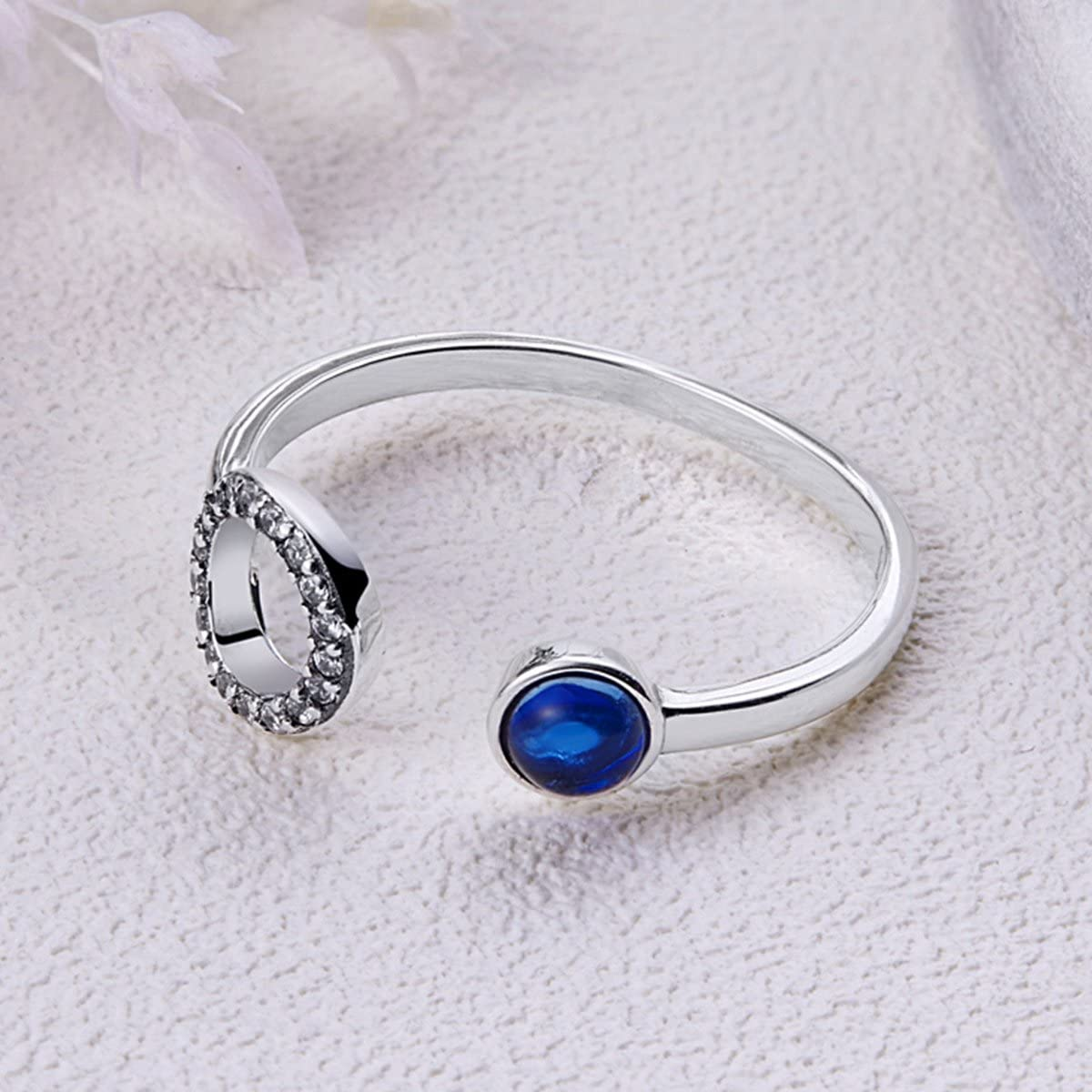 The Kiss Minimalism Classic Circle Open 925 Sterling Silver Adjustable Ring Blue CZ