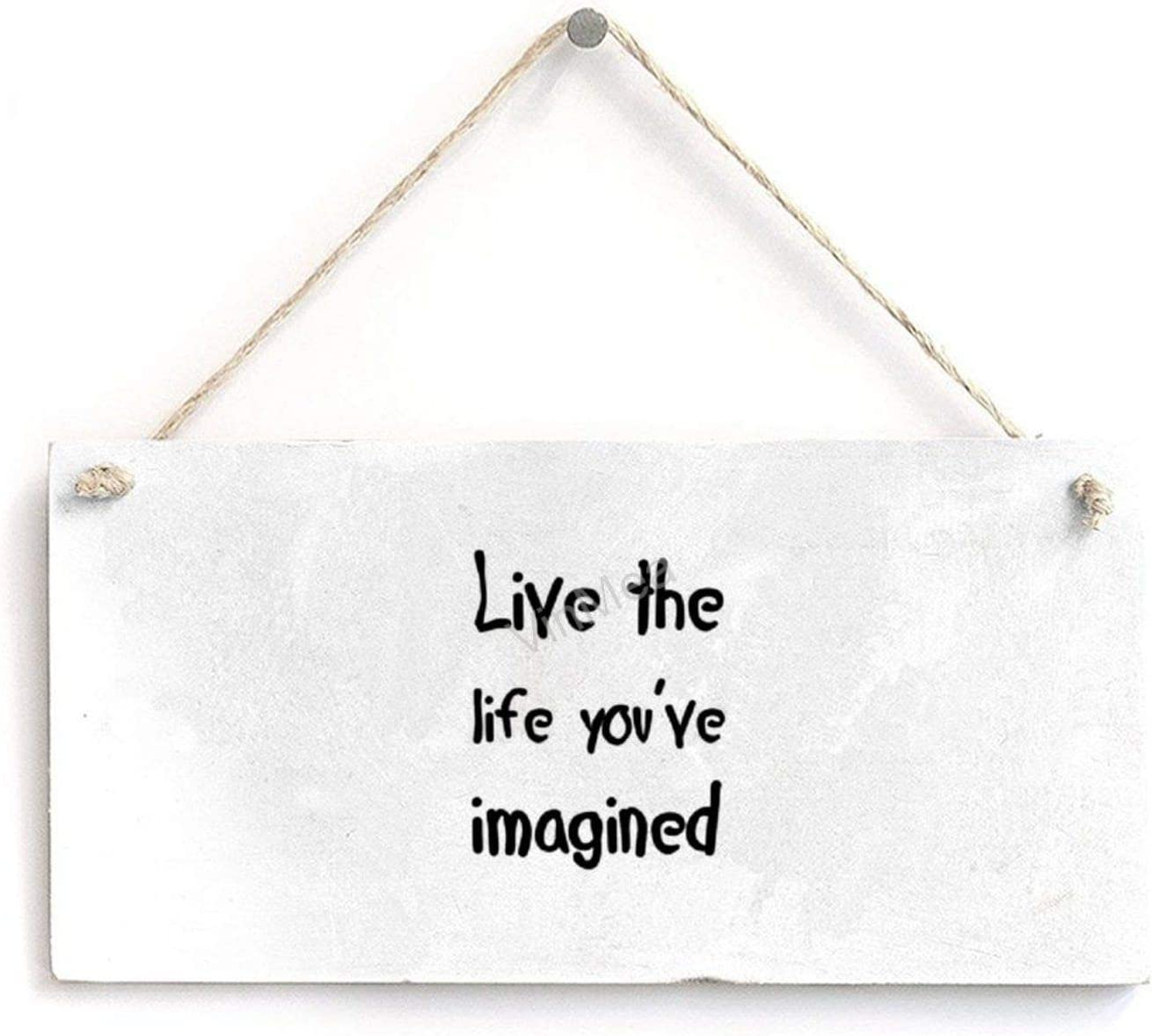 VinMea Wood Sign Live The Life You've Imagined Hanging Wood Plaque with Rope Wall Art Home Decor, 8 x 4''