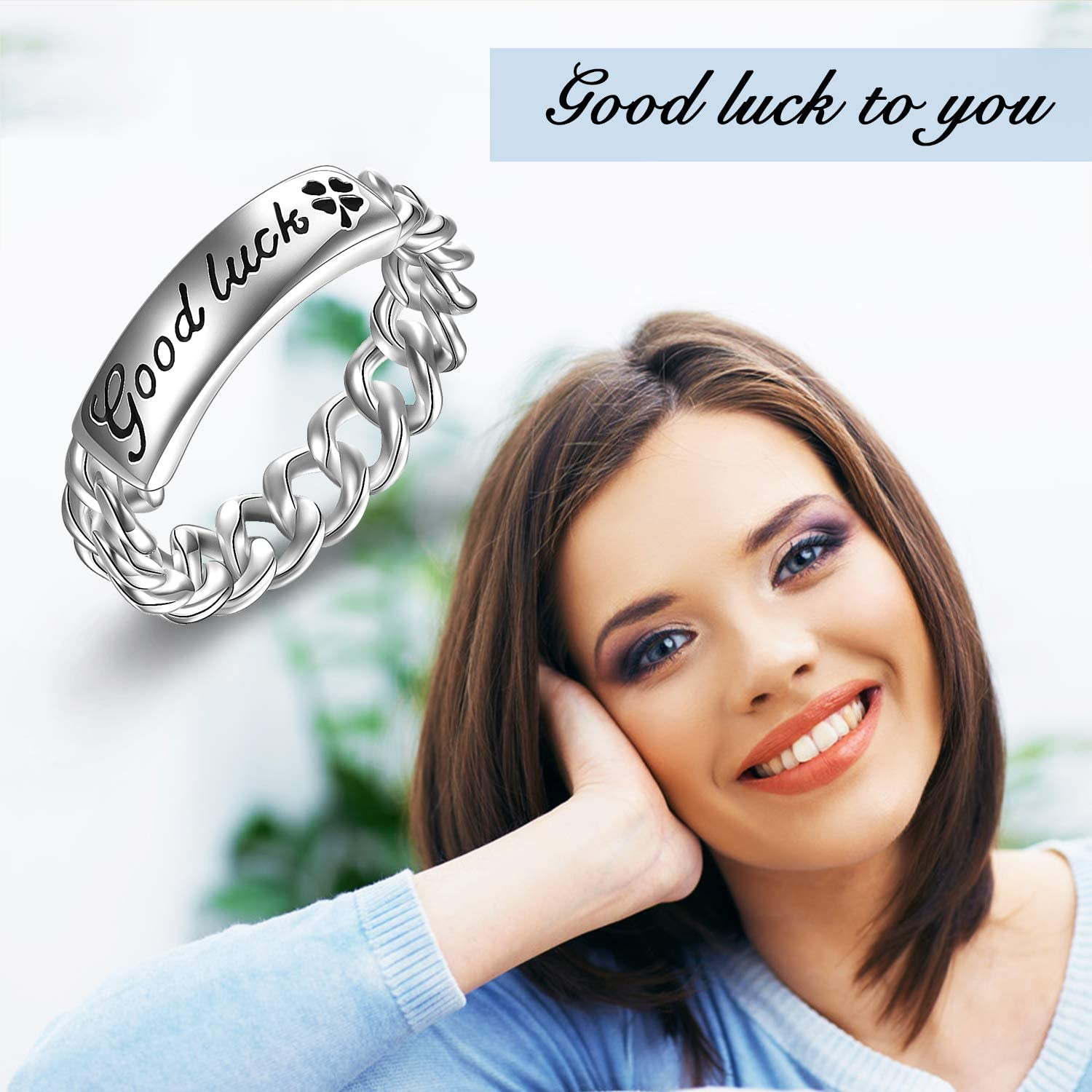 Sterling Silver Sturdy Cuban Knot Link Chain Engraved Good Luck Wedding Eternity Band Ring for Women Girls Men Boys Unisex