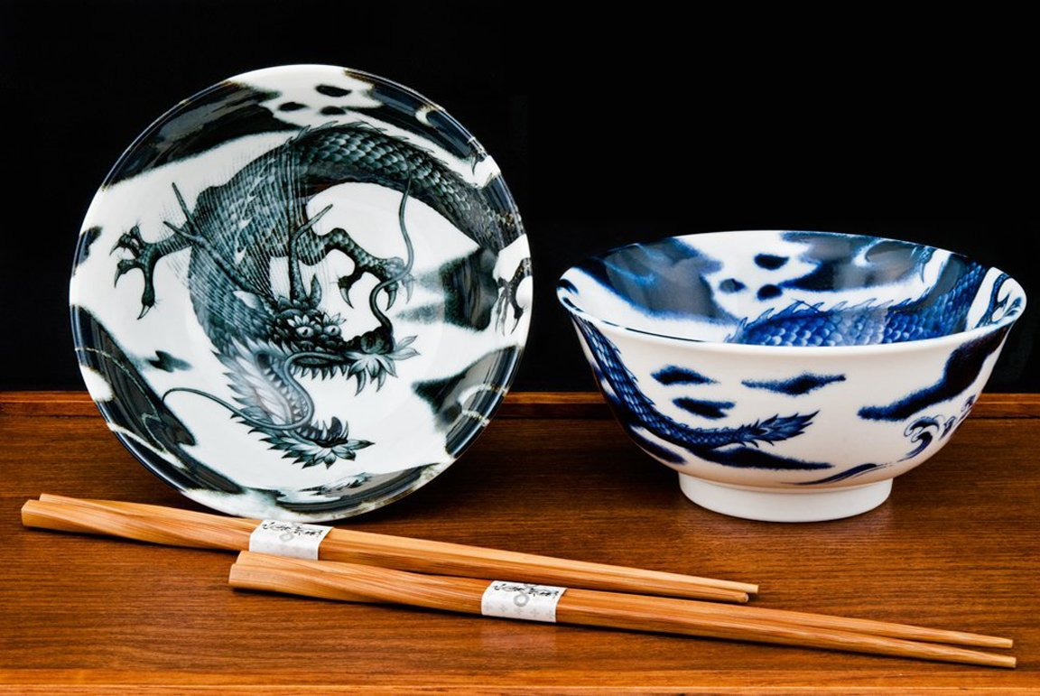 Happy Sales HSTYB-DRGN, Japanese Rice Noodle Ramen Bowls 6''D Multi Purpose Tayo Bowl Set of 2 with Chopsticks, Dragon Design