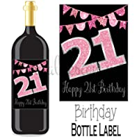 Eternal Design 21st Birthday Bottle Label Wine Gift....Pink Glitter