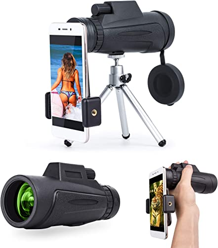 Monocular Telescope, 12×50 Compact Monocular Scope with Smartphone Mount Tripod for Adults Bird Watching Hunting Concerts Traveling Wildlife Scenery