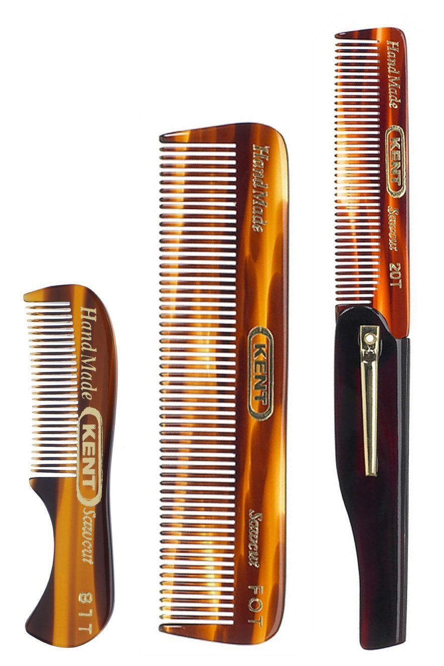 Kent Set of Combs - 81T Beard and Mustache Comb, FOT Pocket Comb, and 20T  Folding Pocket Comb
