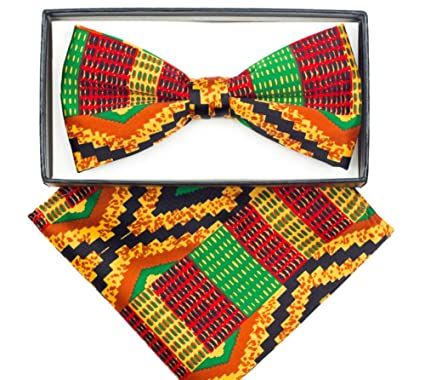 08f87fa09bdf Image Unavailable. Image not available for. Color: Men's Microfiber Kente  African Print Pre-tied Bow Tie & Pocket Square Hankie Gift Set