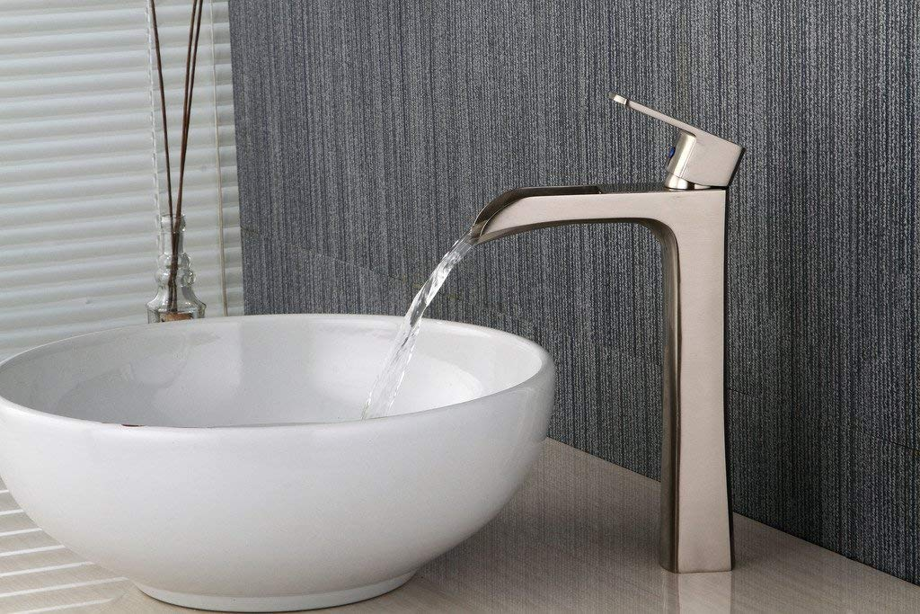 BWE Waterfall Spout Commercial Bathroom Vessel Sink Faucet Single Handle One Hole Deck Mount Brushed Nickel